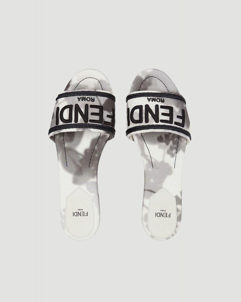 fendi slides in black and white